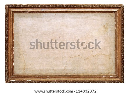 vintage frame with old canvas - stock photo