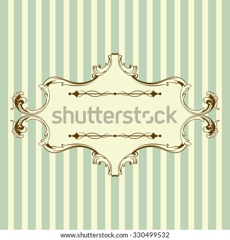 Vintage Frame With Retro Ornament Elements in Antique Rococo Style. Elegant  Decorative Design. Raster Illustration. - stock photo