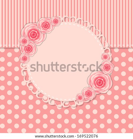 Vintage Frame with Rose Flowers