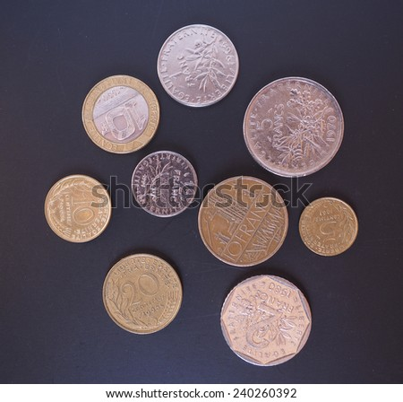 Vintage French Francs coins withdrawn since the introduction of Euro