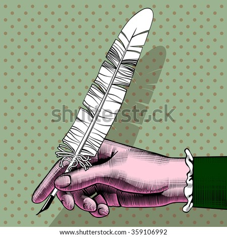 Vintage full color pop art drawing of woman's hand with a pen. Contain the Clipping Path - stock photo