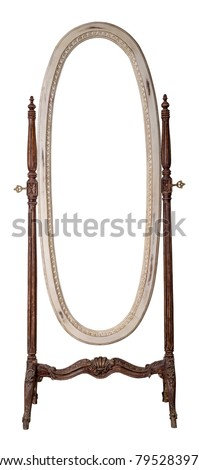 Vintage Furniture - Retro wooden ornate elliptical cheval standing dressing mirror painted in off white and brown colors isolated on white background including clipping path