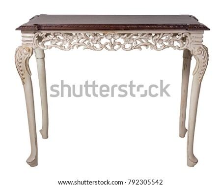 Vintage Furniture - Retro wooden vintage table with dark brown top and beige painted legs isolated on white background including clipping path