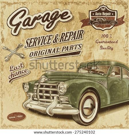 Vintage garage retro banner - stock photo