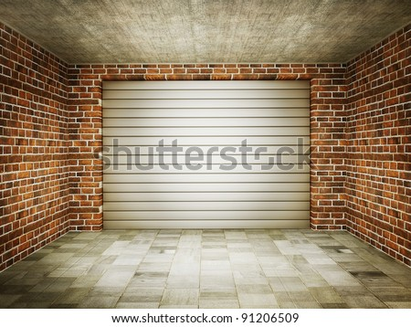 vintage garage with a steel gate and bricks walls. - stock photo