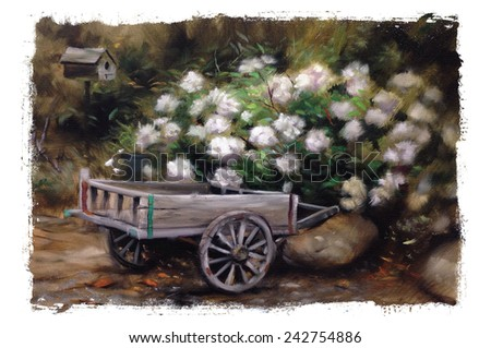 Vintage Garden Wagon Flowers Beauty Oil Painting