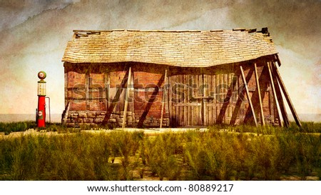Vintage gas pump and old falling down barn gas station with holes in the roof shingles missing, support boards holding it up. Stylized heavy grunge textured. Original Illustration - stock photo
