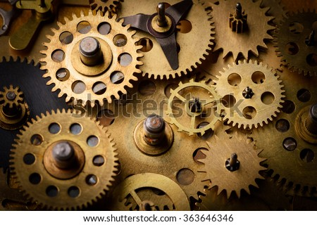 Vintage gears and cogs - stock photo