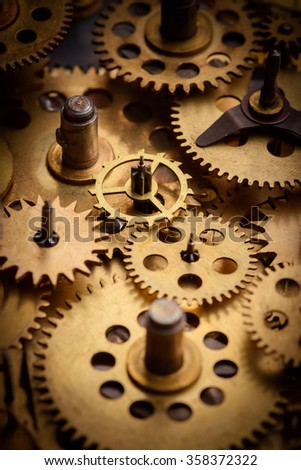 Vintage gears and cogs from old mechanism macro
