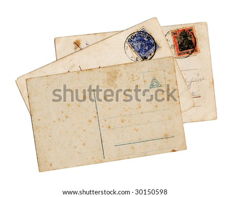 Vintage German World War I postcard backs, isolated on white background - stock photo