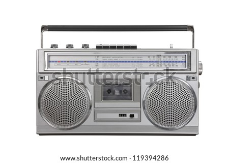 Vintage ghetto blaster portable stereo isolated with clipping path. - stock photo