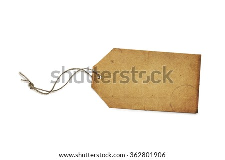 Vintage gift or sales tag with rustic string isolated on white background with light shadow. Blank, with copy space. Clipping path included. - stock photo