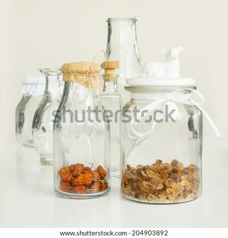 Vintage glass bottles - stock photo
