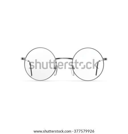 Vintage glasses round lenses isolated on white background - stock photo