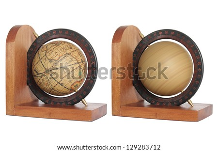 vintage globe isolated on white with clipping path