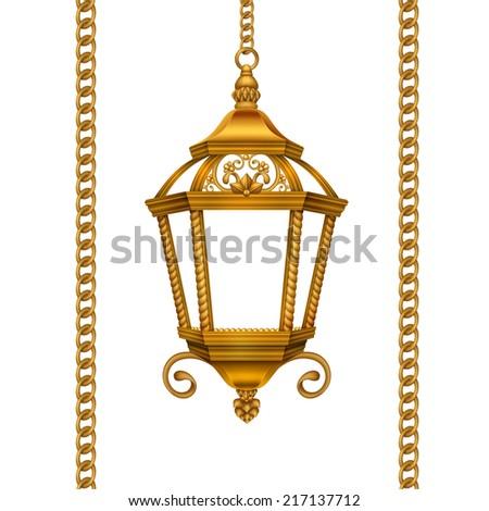 vintage gold Christmas lantern and chain illustration, historical decoration design elements isolated on white background - stock photo