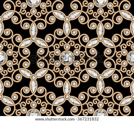 Vintage gold diamond ornament, jewelry seamless pattern, elegant jewellery texture, raster illustration - stock photo