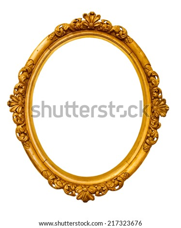 vintage gold frame isolated on white