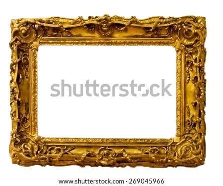 vintage gold frame, isolated on white - stock photo