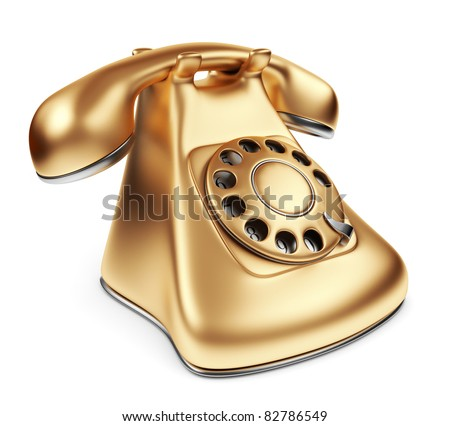 Vintage gold phone. 3d illustration isolated