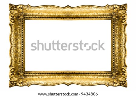 Vintage gold picture frame - stock photo