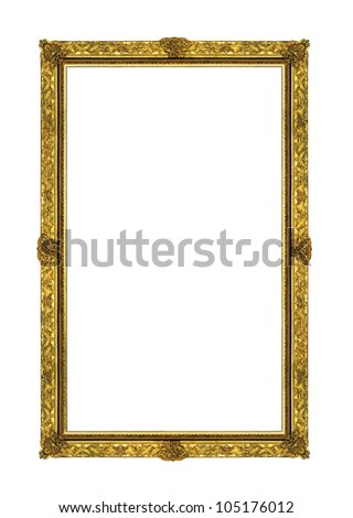 Vintage gold picture rectangle frame isolated on white background with clipping path - stock photo