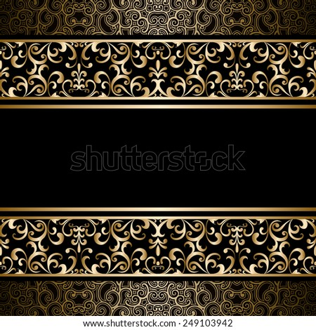 Vintage gold raster background, ornamental frame with seamless borders over pattern - stock photo