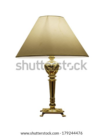 vintage gold table lamp isolated on white background