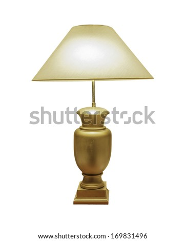 vintage gold table lamp isolated on white background with clipping path - stock photo