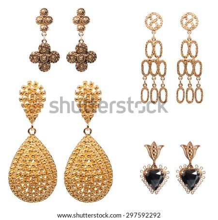 Vintage golden earrings - stock photo