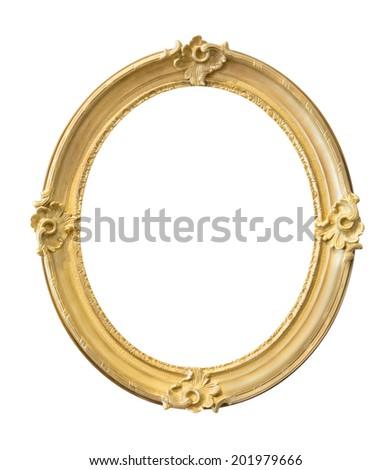 Vintage golden frame isolated on white background - stock photo