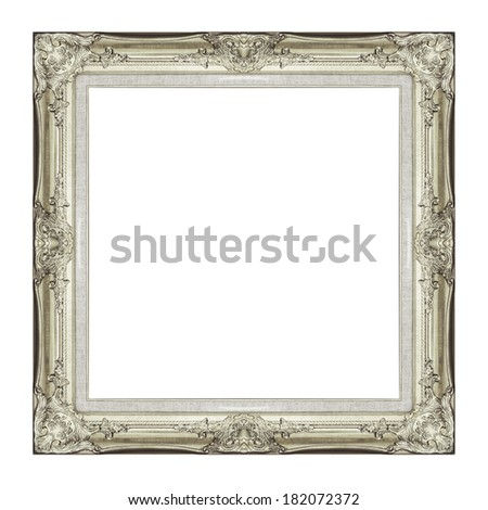 Vintage golden frame with blank space, with clipping path - stock photo