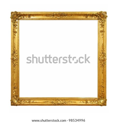 Vintage golden picture frame - stock photo