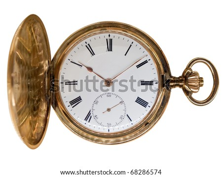 Vintage golden pocket watch, aged 1912, from Switzerland, isolated on white - stock photo