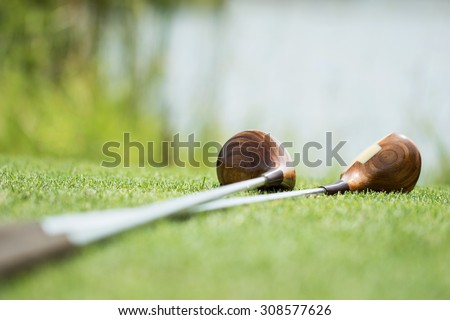 Vintage golf clubs - stock photo