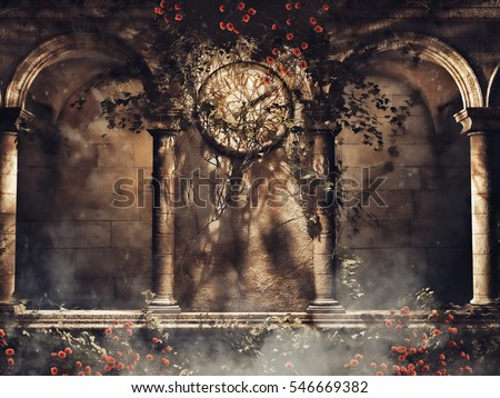 Vintage Gothic Arches With Vines Roses And An Old Clock 3D Illustration