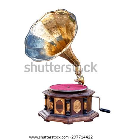 vintage gramophone isolate on white ,retro technology - stock photo