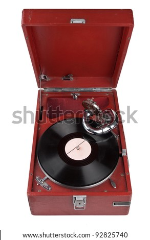 Vintage gramophone isolated on white background - stock photo