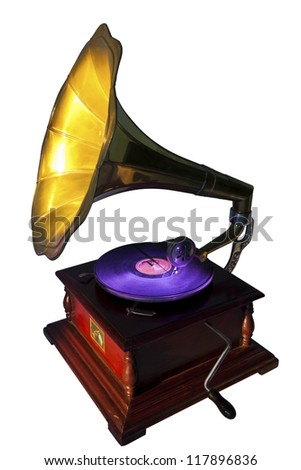 Vintage gramophone isolated on white. Clipping path included. - stock photo