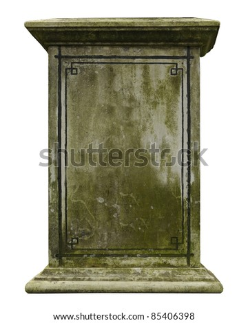 Vintage gravestone isolated on white background - stock photo