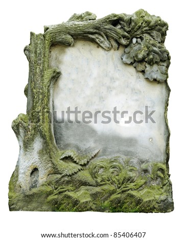 Vintage gravestone isolated on white background - stock photo