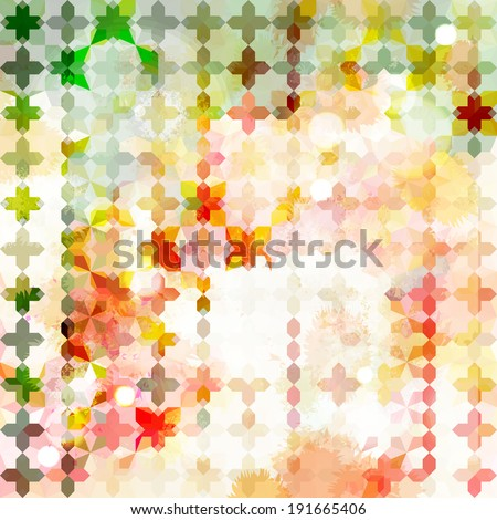 Vintage green and pink defocused background with geometric ornament. Raster version - stock photo