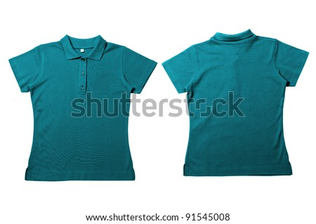 Vintage  Green Blue Female color Polo Shirt with white background Men Front and back Polo Shirt - stock photo