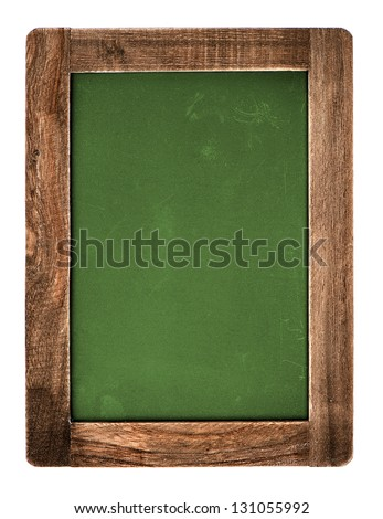 vintage green chalkboard with wooden frame isolated on white background. blackboard with place for your text - stock photo