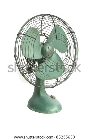 vintage green electric fan on white background - stock photo