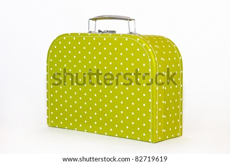 Vintage Green Polka Dot Lunch Box Isolated - stock photo