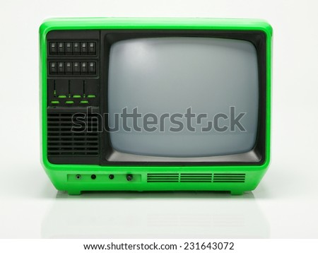 Vintage Green TV isolated on White Background. Front View with Real Shadow. Copy Space for Text or Image - stock photo
