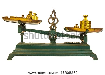 Vintage green weight balance scale isolated on white with old counterweights on the trays - stock photo