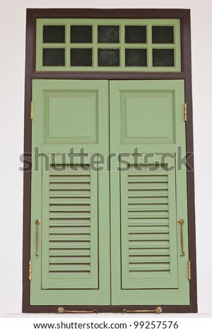 vintage green wooden windows