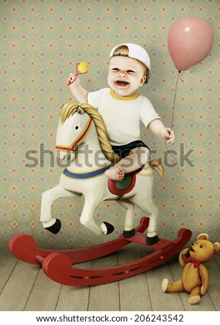 Vintage greeting card Little boy on wooden horse with toy bear.   - stock photo